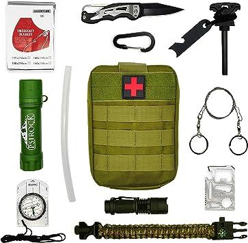 Kit supervivencia montaña Kit de supervivencia profesional | Navaja multiusos Pedernal supervivencia accesorios | Bushcraft Vivac Acampada | Filtro ...