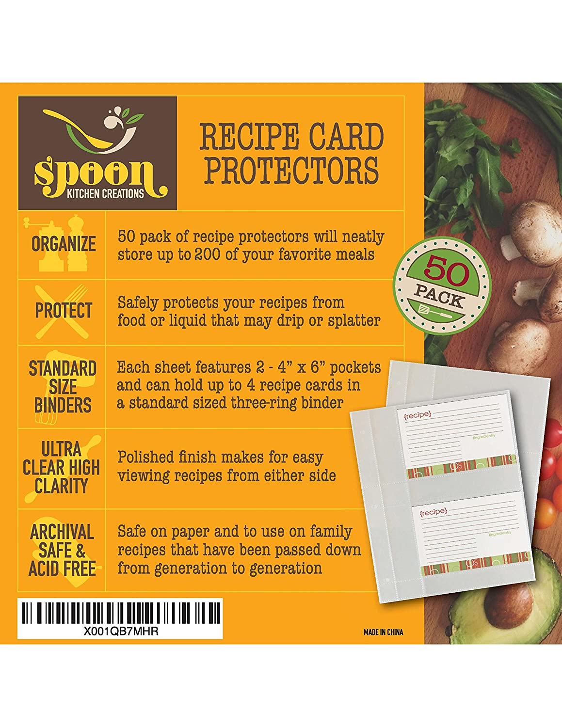 Recipe Card Protectors, Refill Sheets, 50 Pack, Clear, 2 Cards Per Sheet Toucan Craft Supplies