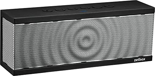 Bluetooth Speaker with Built-in Mic, Portable Wireless Loud Zetbox, NFC AUX Connectivity, 10W, Up to 12 Hours Playtime, Wireless Speaker for iPhone, iPad, Galaxy, Nexus, and More – Silver Black