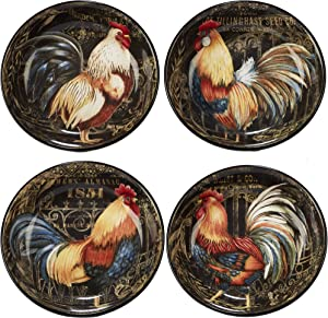 "Certified International Gilded Rooster Set/4 Soup/Pasta Bowl 9.25"" x 2"", Assorted Designs,One Size, Multicolored"