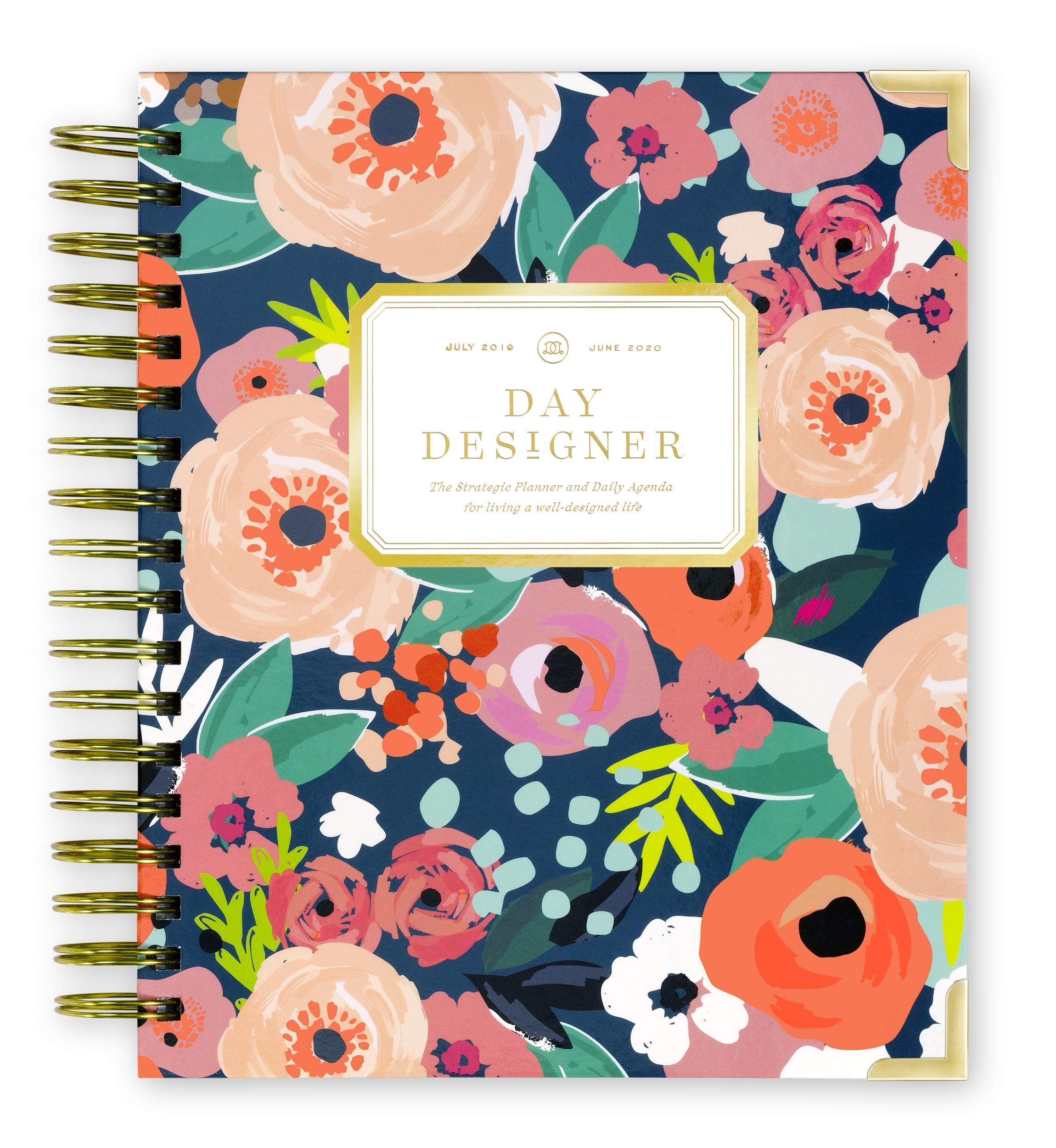 Day Designer 2019-2020 Daily Life Planner and Agenda, Hardcover, Twin-Wire Binding, 9'' x 9.75'', Secret Garden