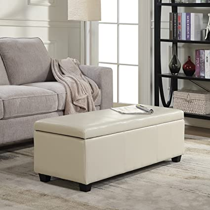 belleze modern elegant ottoman storage bench living bedroom room home faux leather 48 inch - Living Room Bench