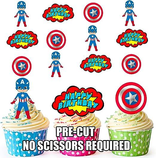 Precortado Capitán América superhéroe feliz cumpleaños Pack – Decoración comestible para cupcakes/tarta decoración (Pack de 12): Amazon.es: Hogar