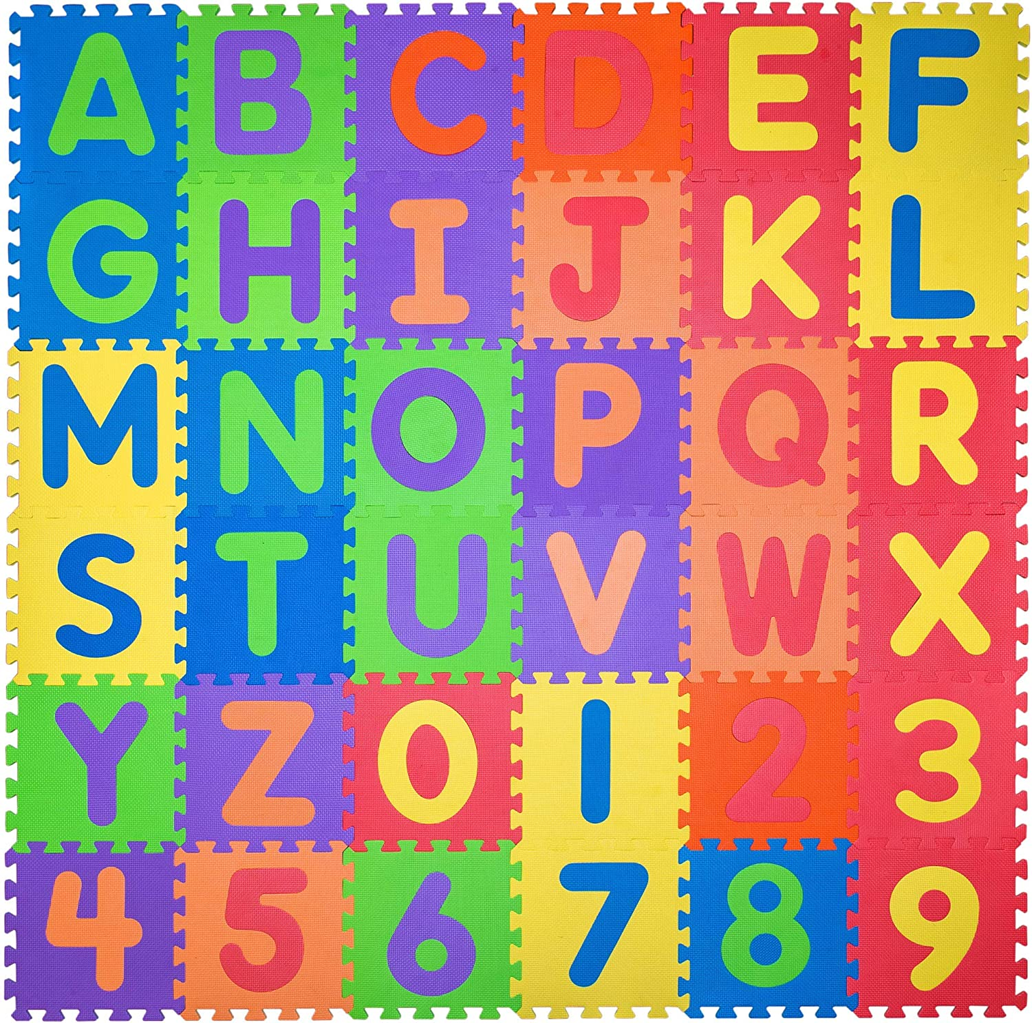 Non Toxic Play Mat for Kids Toddlers - Foam Puzzles Thickest Alphabet ABC & Numbers 0-9 Play & Exercise Mat 36 Tiles 12x12 Floor Coverage 36 Sq Ft