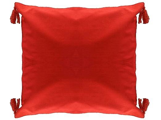 Azafrán Rojo Cojín de algodón funda de almohada de flecos 30 ...