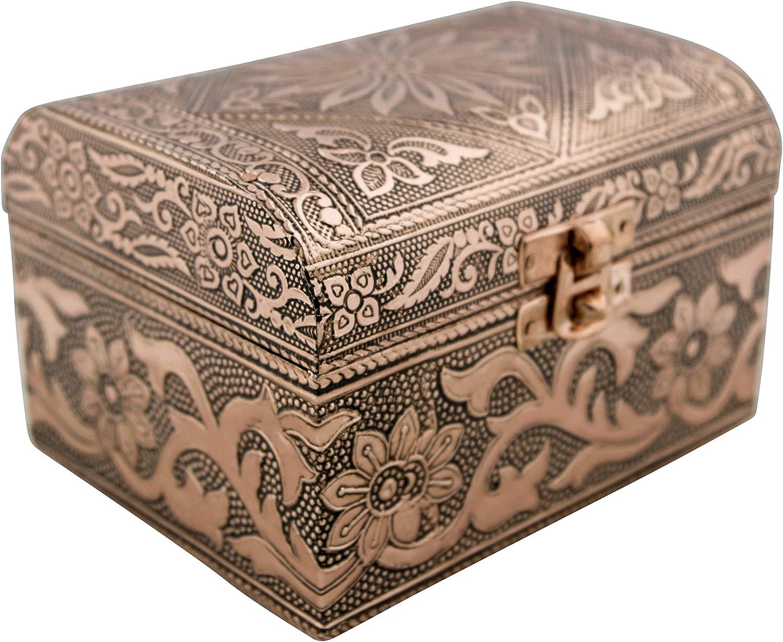 VGI Elegant Jewelry Box with Hammered Metal Cladding and Soft Fabric Interior (Solaris, Copper Finish)