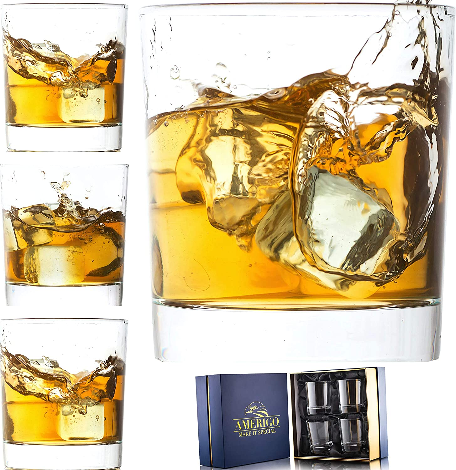 Amerigo Crystal Whiskey Glass Set of 4 in Luxury Gift Box - Heavy Base Old Fashioned Whiskey Glasses 10oz for Scotch - Whisky Gift for Men - Bourbon Glass Tumblers - Fathers Day Gift - Home Bar Set