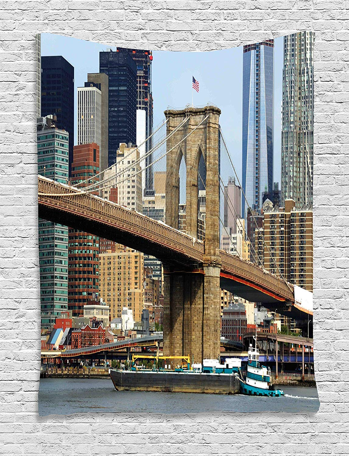 THndjsh Urban Tapestry, Skyline Brooklyn New York USA Cityscape Bridge Buildings River Coastal Scenery, Wall Hanging Bedroom Living Room Dorm, 40 W x 60 L inches, Multicolor by THndjsh