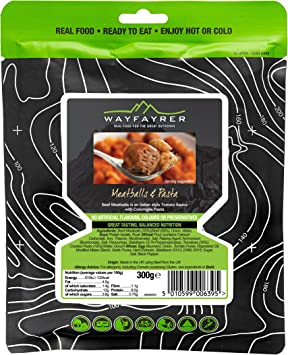 12 x Wayfayrer Pasta and Meatballs Ready-to-Eat Camping Food
