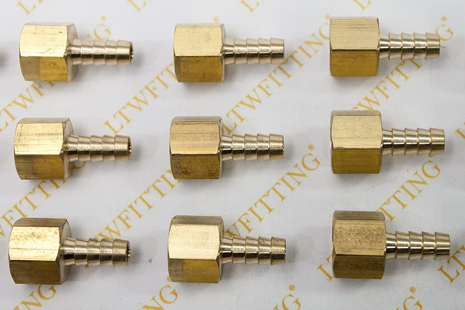 LTWFITTING Brass Barb Fitting Coupler 1//8 Hose ID x 1//4 Female NPT Fuel Gas Water Pack of 5