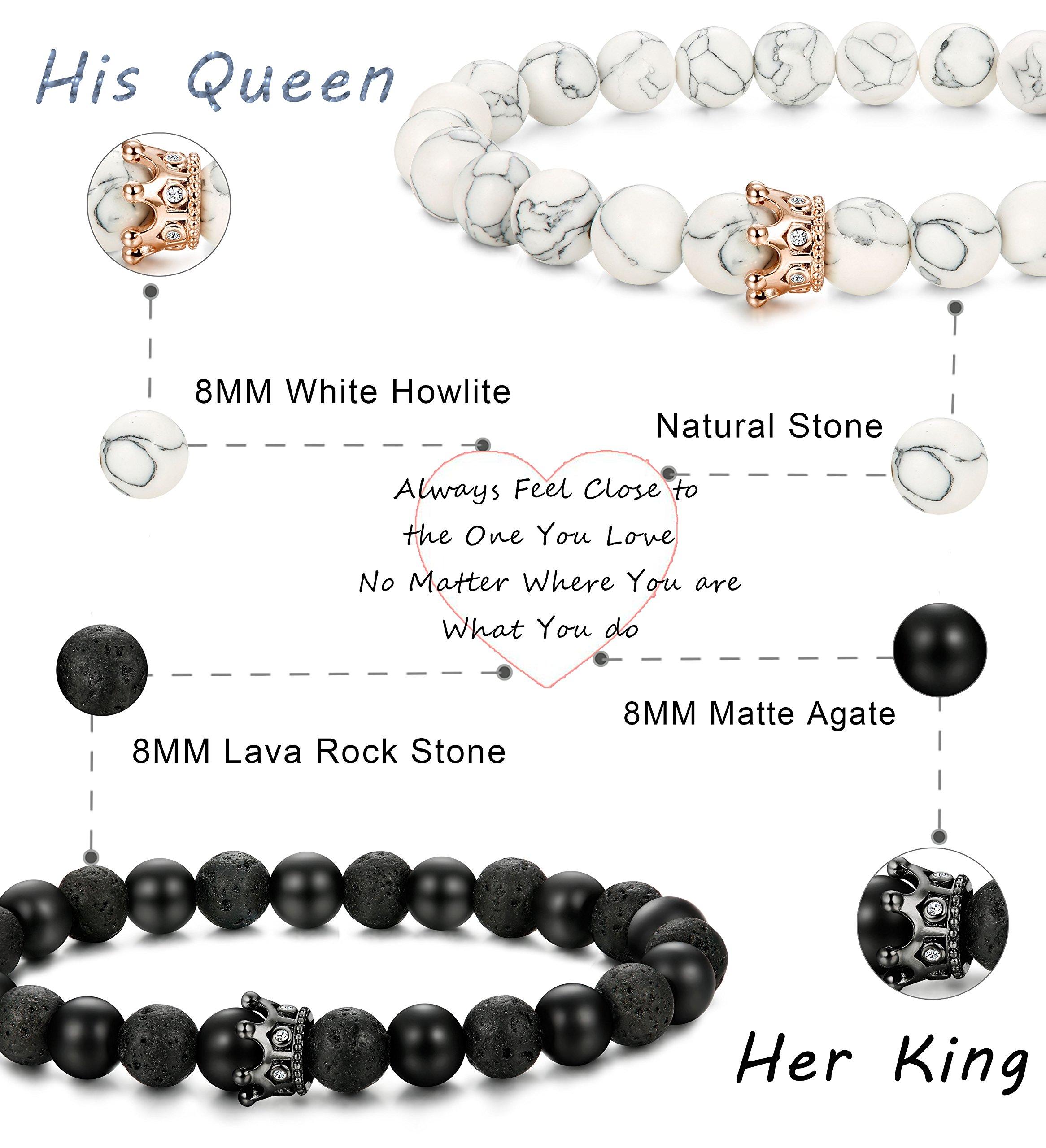 FIBO STEEL 4 Pcs Couples Bracelet for Men Women His & Her Crown Queen Bracelets Set 8mm Beads Bracelets by FIBO STEEL (Image #2)