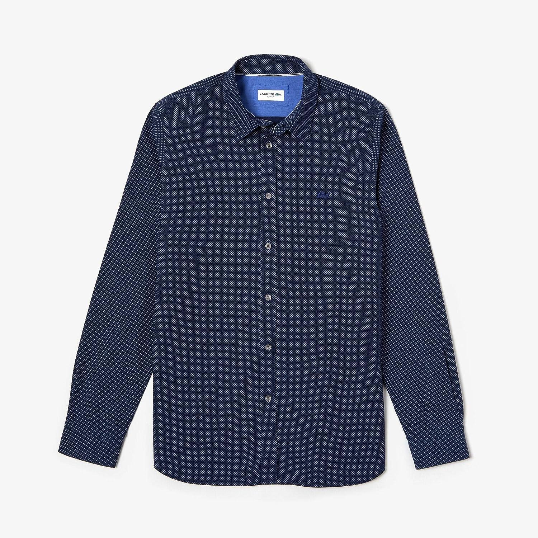 Bleu Marine   Blanc 43 (L XL) Lacoste - Chemise Manches Longues Homme - CH0564