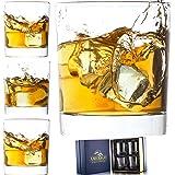 Amerigo Crystal Whiskey Glass Set of 4 in Luxury Gift Box - Heavy Base Old Fashioned Whiskey Glasses 10oz for Scotch - Whisky