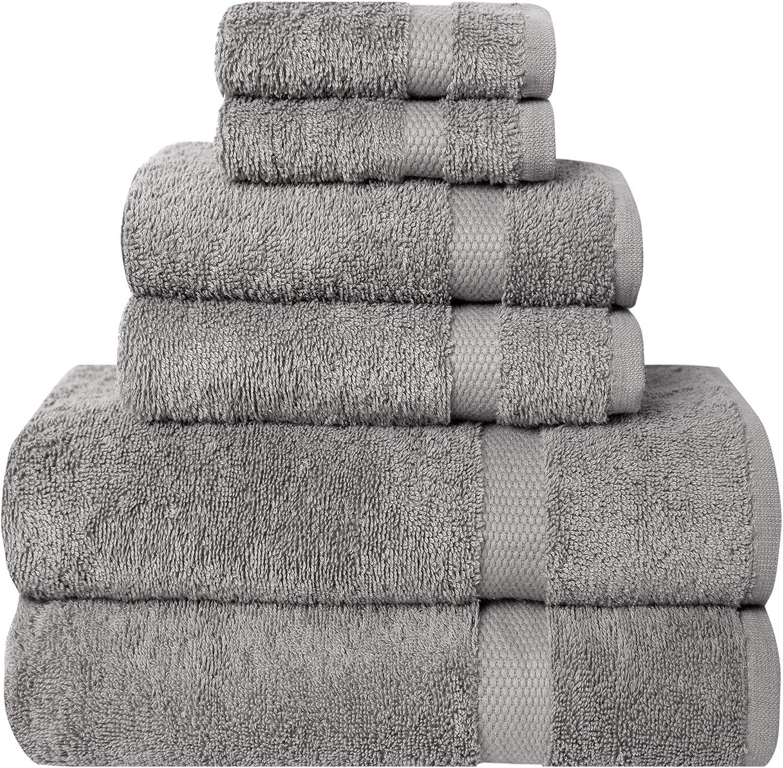 Pleasant Home Bath Towels Set – 6 Piece Bath Set - 2 Bath Towels, 2 Hand Towels & 2 Wash Cloths - 100% Cotton - 580 GSM – Lightweight, Soft & Absorbent – Durable (Grey): Home & Kitchen