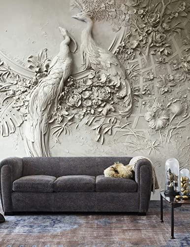 Amazoncom Murwall Sculpture Wallpaper 3d Embossed Floral Wall