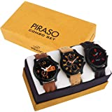 PIRASO Analogue Black Dial Men's Watch -Combo Set of 3