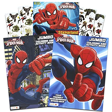 Amazon.com: Marvel Spiderman Coloring and Activity Book Set with ...