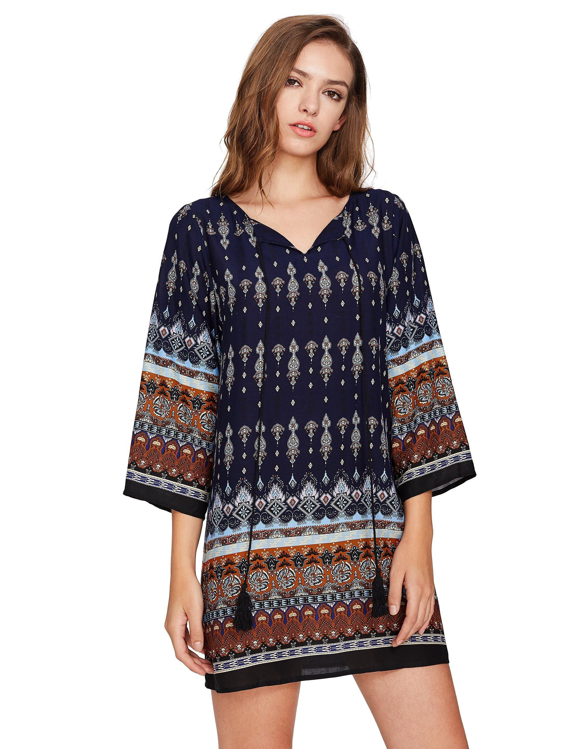 ROMWE Women's Boho Bohemian Tribal Print Summer Beach Dress Navy S by Romwe (Image #6)