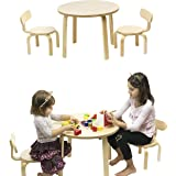 Children's Table and 2 Chairs Set Birch Brown Wood