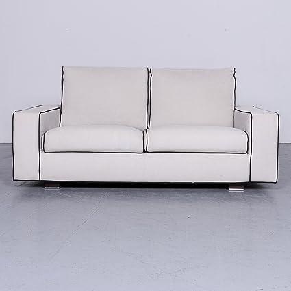Minotti Designer Stoff Sofa Grau Zweisitzer Couch