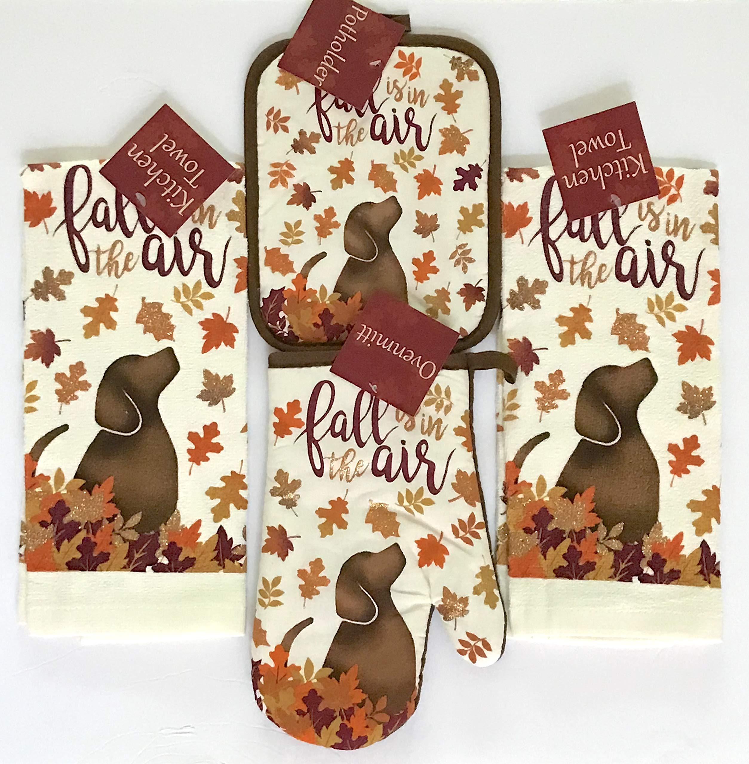 Nantucket Home Holiday Kitchen Towel Set: Fall is in The Air Dog with Colorful Leaves Including 2 Towels 1 Pot Holder and 1 Oven Mitt by Nantucket Home