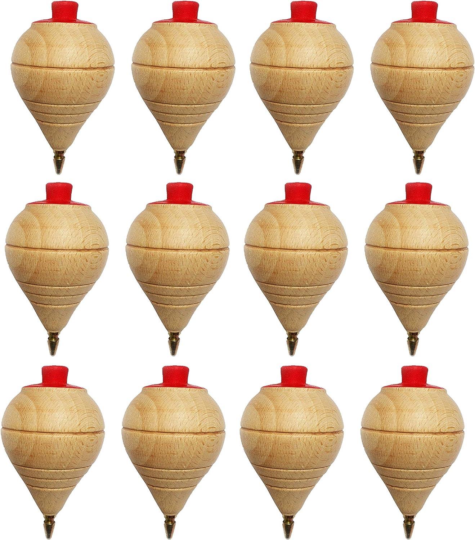 Lote de 4/8/12 Peonzas de Madera clásicas con punta de bolígrafo - Regalos y Detalles para Comuniones, piñatas, Niños, Niñas, Fiestas de Cumpleaños, Trompas, peón, trompo, trompón, spinner (8 Peonzas)