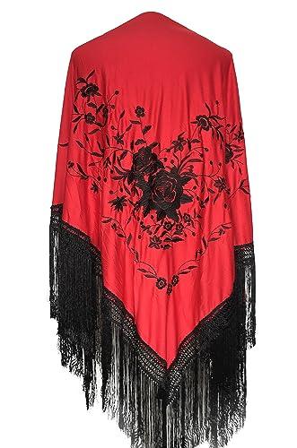 La Señorita Mantones bordados Flamenco Manton de Manila Rojo Negro Grande con flecos negro