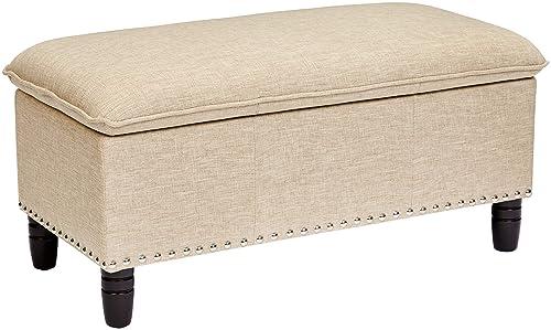 First Hill Genova Fabric-Upholstery Pillow-Top Storage Ottoman Bench, Breezy Beige