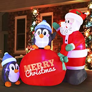 Joiedomi Christmas Inflatable Decoration 7 FT Santa with Penguins Inflatable with Build-in LEDs Blow Up Inflatables for Xmas Party Indoor, Outdoor, Yard, Garden, Lawn Winter Decor.