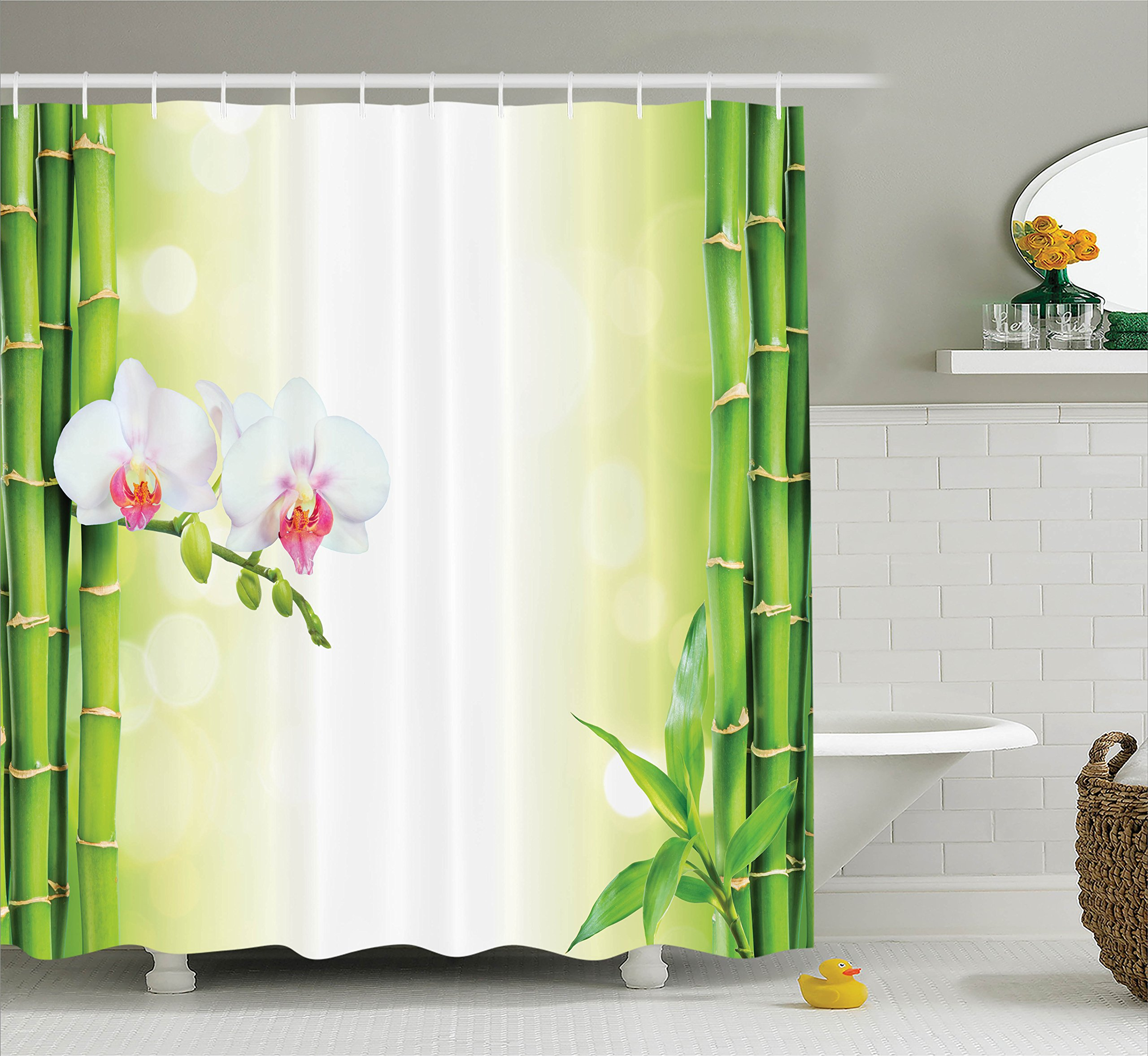 Ambesonne Spa Decor Shower Curtain Set, Orchid Flowers with Bamboo Branches in Vibrant Colors Spiritual Practice Theme, Bathroom Accessories, 69W X 70L inches, White Green