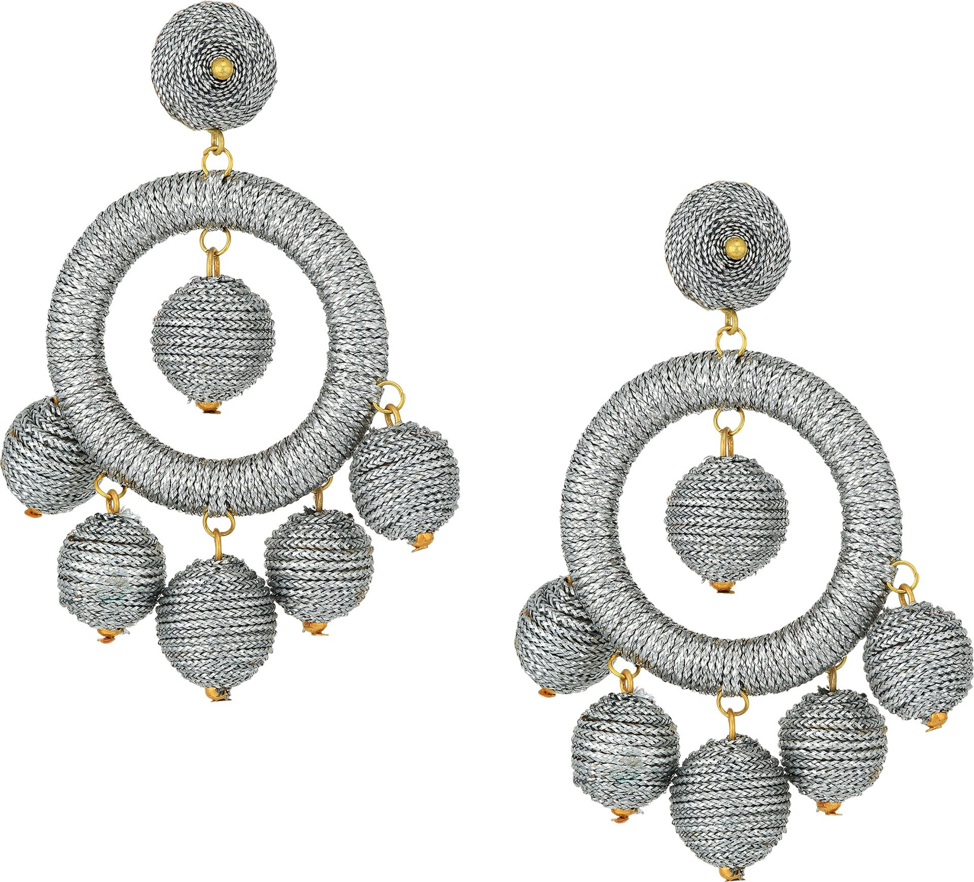 Kenneth Jay Lane Women's Graduated Silver Thread Wrapped Balls Drops w/ Dome Top Post Earrings Silver One Size