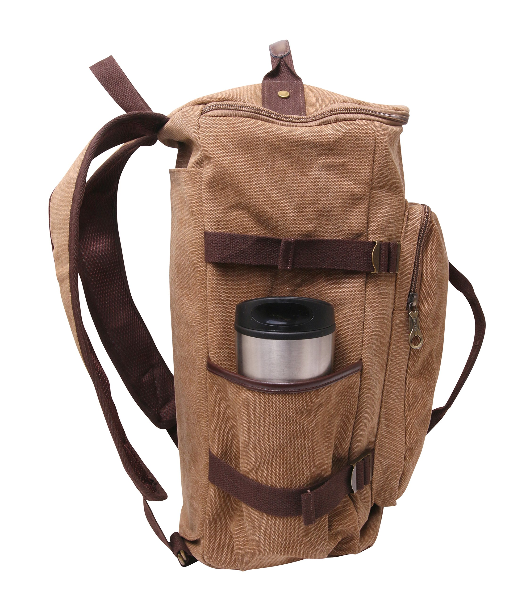2-in-1 Travel Duffel Bag – Canvas Travel Backpack and Luggage Carry-on (Brown) by Skymore Baggage Co.