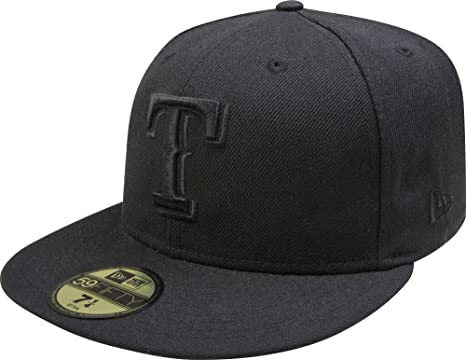 Amazon.com   New Era MLB Black on Black 59FIFTY Fitted Cap   Sports ... 34572ed01e1