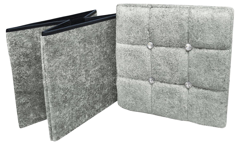 Blush Pink 1 Seater Crushed Velvet Fabric with Diamantes Foldaway Ottoman Stool Blanket Box Bench 38cms x 38cms