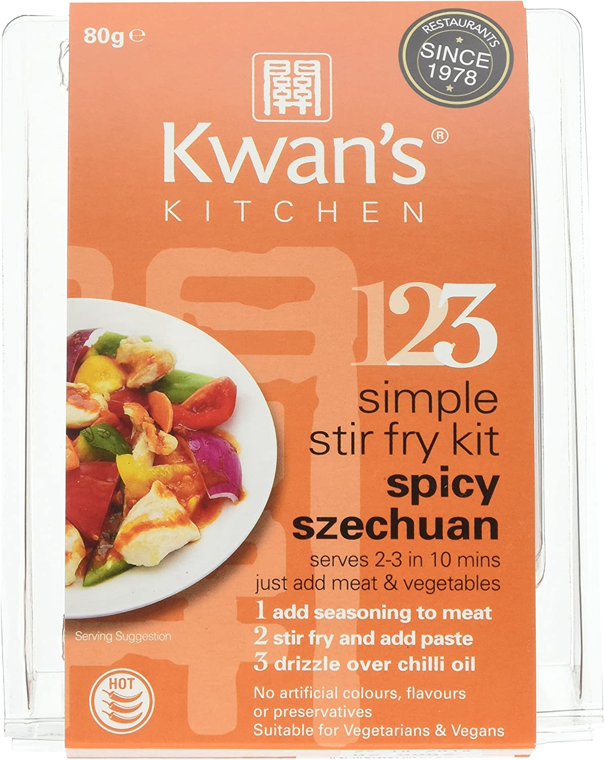 Kwans Kitchen Spicy Szechuan Stir Fry Meal Kit 73 G Pack Of 3 Amazon Co Uk Grocery