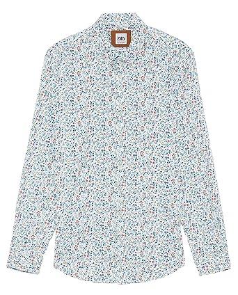 da72e07b25c4 Zara Men Stretch Floral Print Oxford Shirt 7545/323 White at Amazon ...