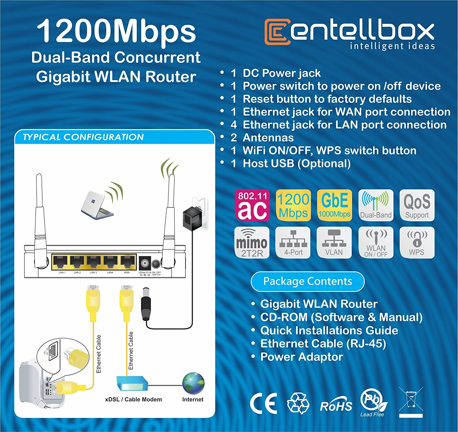 Entellbox Ac1200 Wireless Dsl Wifi Router Access Point 1200 Mbps 4 12v Dual Usb Port Wiring Diagram Gigabit Computers Accessories