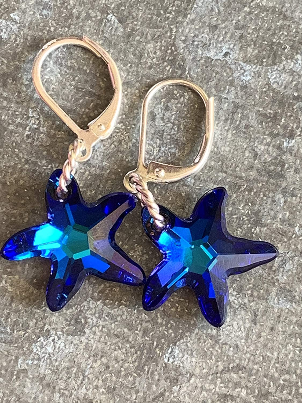 b2021aca23cee Amazon.com: Swarovski Blue Crystal Starfish Earrings ~ Sterling ...