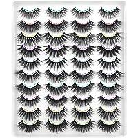 CALPHDIAR 20 Pairs False Lashes Natural Look Faux Mink Eyelashes 3D Fluffy Volume Lashes 10 Styles