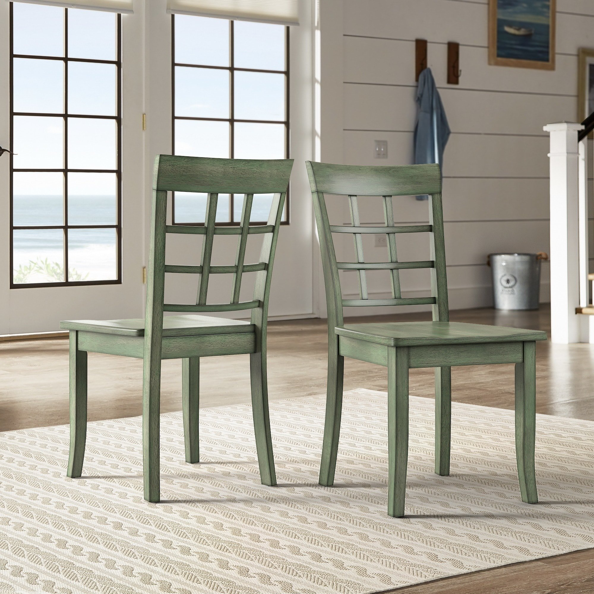iNSPIRE Q Wilmington II Window Back Wood Dining Side Chairs (Set of 2) from Classic Sage Antique, Green Finish