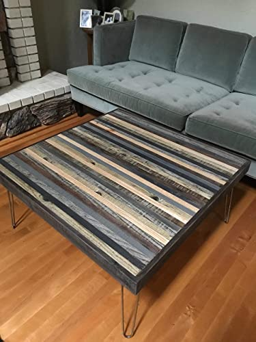 Beautiful Modern Coffee Table with Grey and Black strips of reclaimed wood