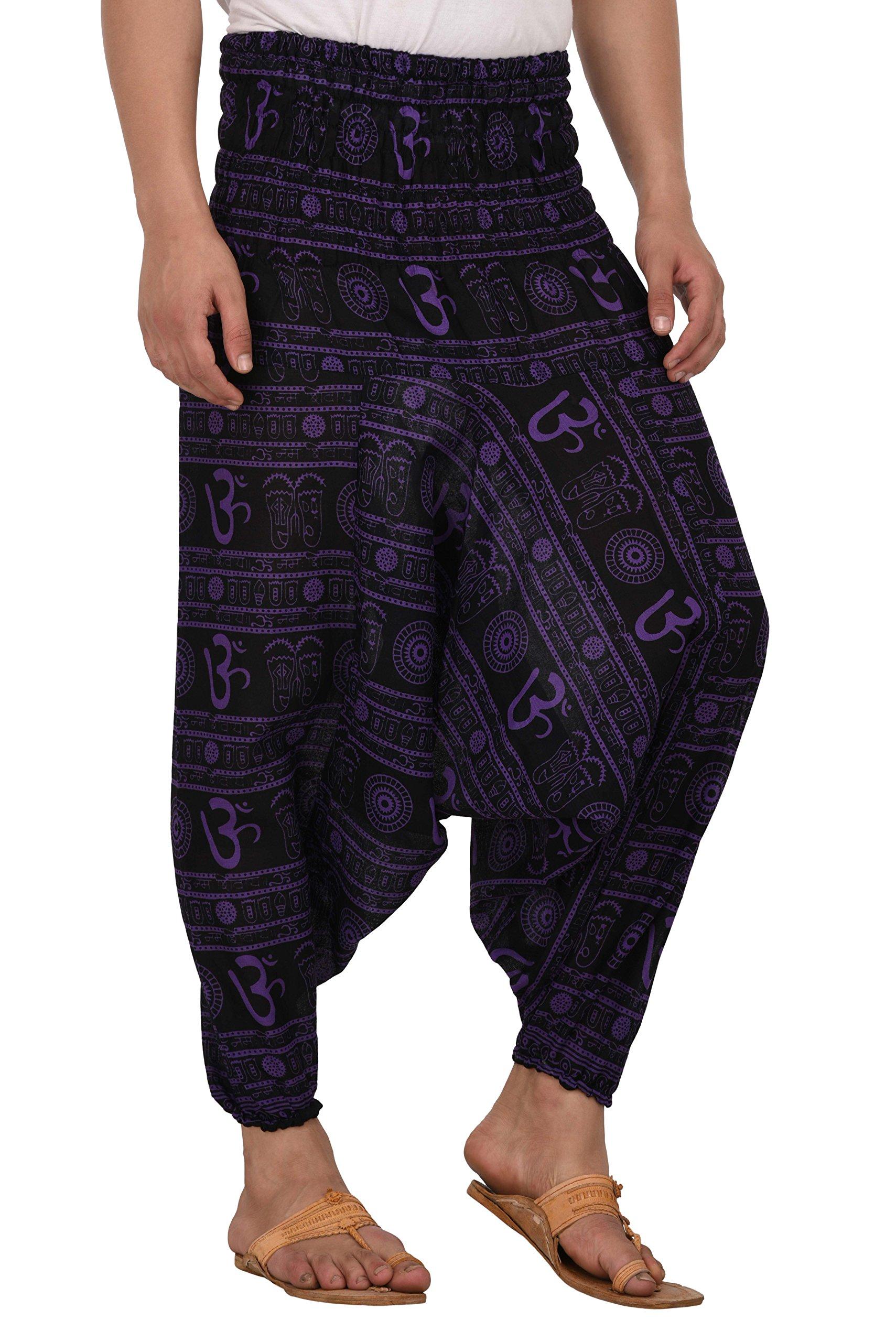 Kiara Men Women Premium Quality Cotton Baggy Hippie Boho Gypsy Aladdin Yoga Harem Pants with Pockets - Om Print