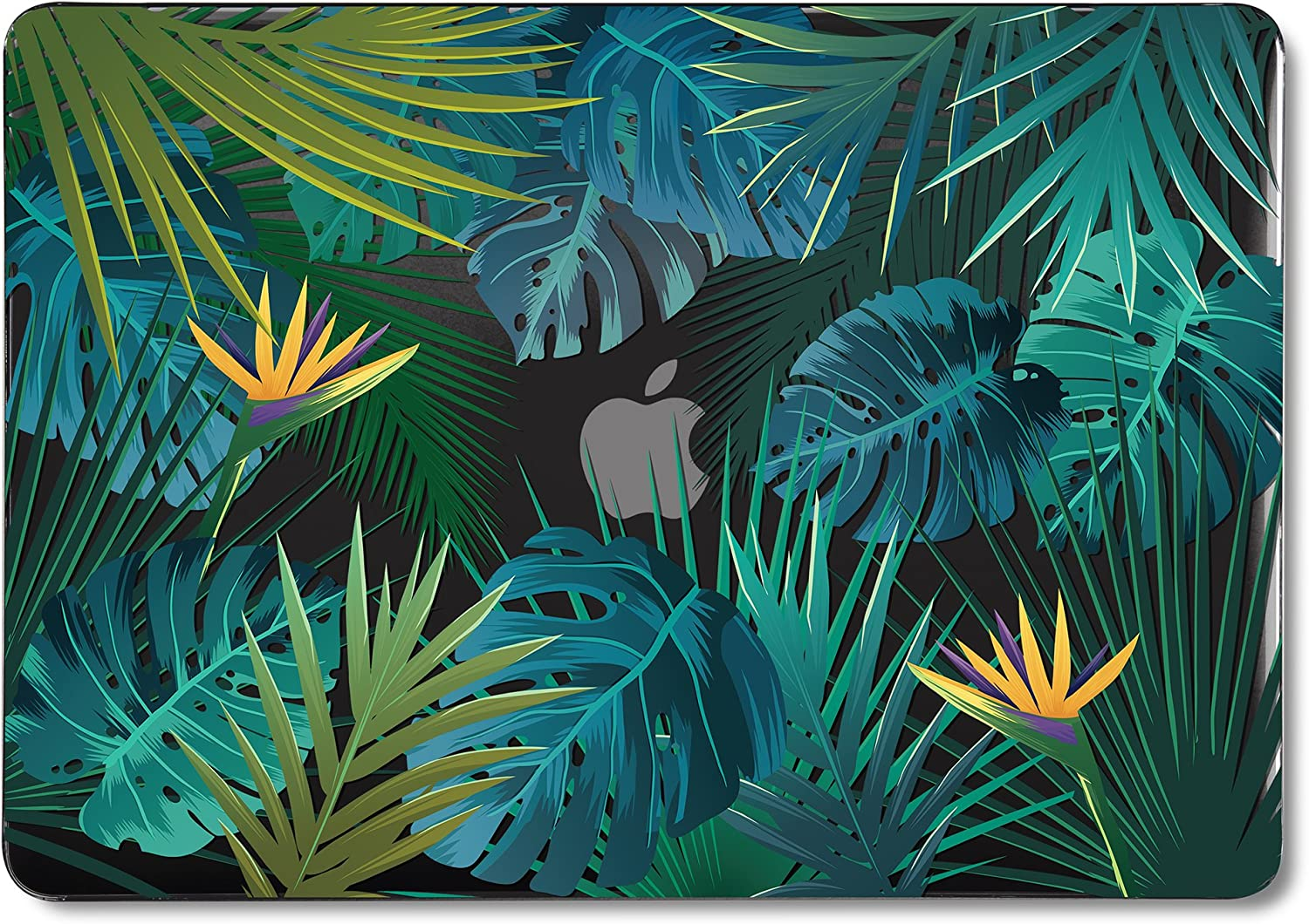 GMYLE MacBook Air 13 Inch Case A1466 A1369 Old Version 2010 2017, Hard Shell Plastic Black Crystal Snap On Cover (Tropical Summer Palm Leaf in Dark)
