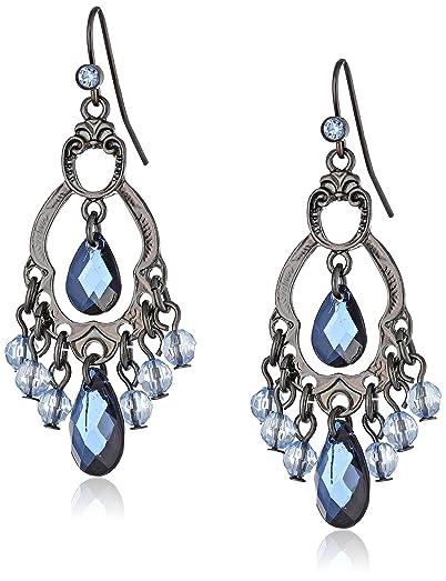 Amazon.com: 1928 Jewelry Classic Blue Chandelier Earrings: Drop ...