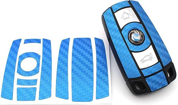 Finest Folia Schlüssel Folie K141 Für 3 Tasten Auto Schlüssel Nur Keyless Go Folien Cover Blau Carbon Auto
