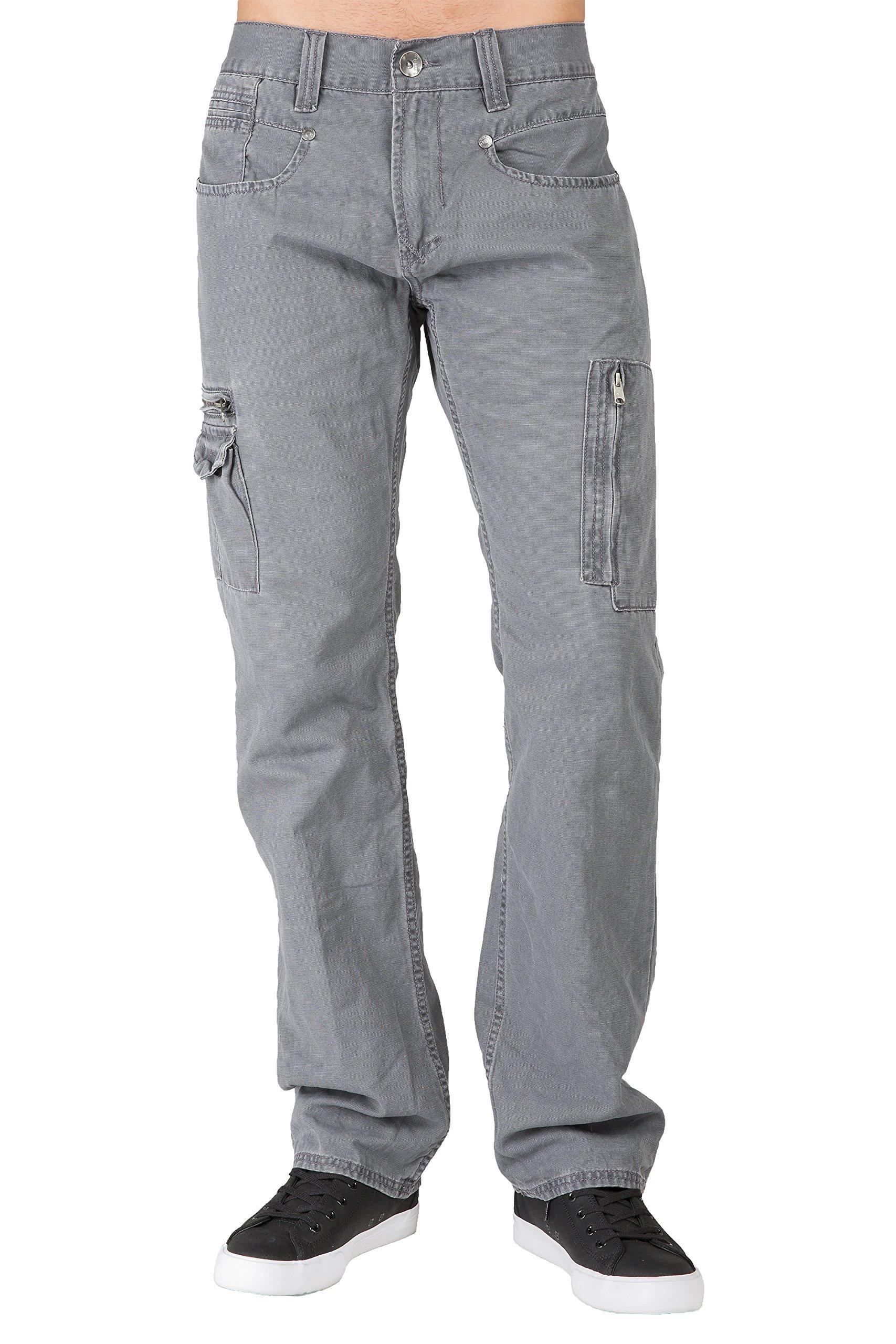 1d4631ed4e4 Men's Relaxed Straight Gray Canvas Premium Jeans Cargo Zipper Pockets