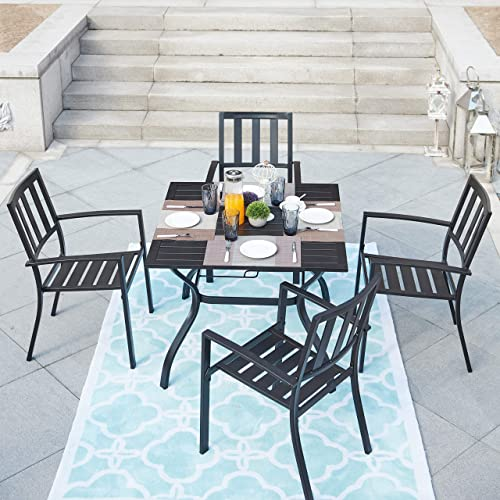 LOKATSE HOME Outdoor Patio Dinning Furniture Metal Arm Chairs and Square Table with Umbrella Hole, 5 Piece Set