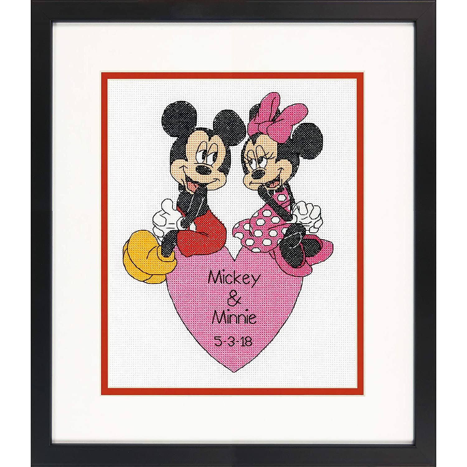 Dimensions Mickey Mouse and Minnie Mouse Wedding Record Counted Cross Stitch for Beginners 14 Count White Aida Cloth 8 x 10