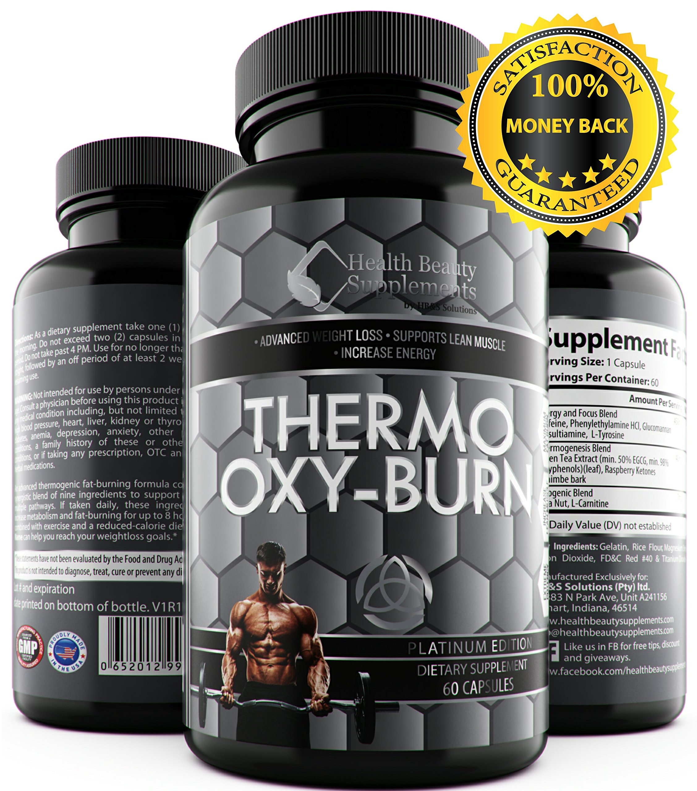 * HYPER THERMO OXY BURN * For Men & Women - Advanced Tri Phase Fat Busting Pills - Thermogenic & Lipogenic Blend – Added Raspberry Ketones & Green Tea Extract - Oxy Burn Supplement