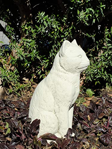 Vintage Sitting Cat: Solid Stone Home or Garden Statue. Sealed